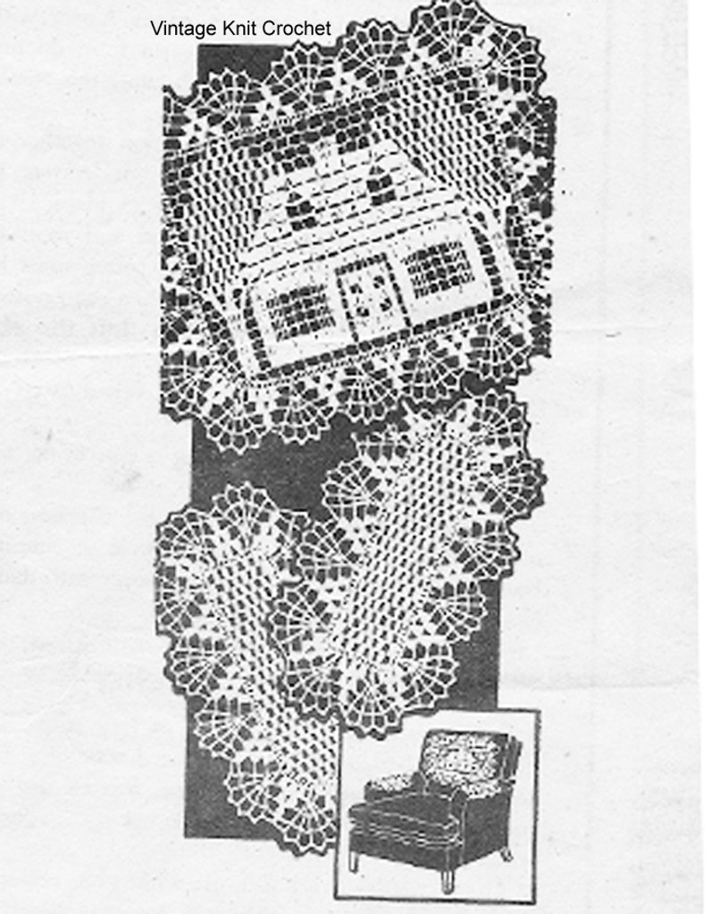 Mail Order Crochet House Doily Set, Laura Wheeler 673