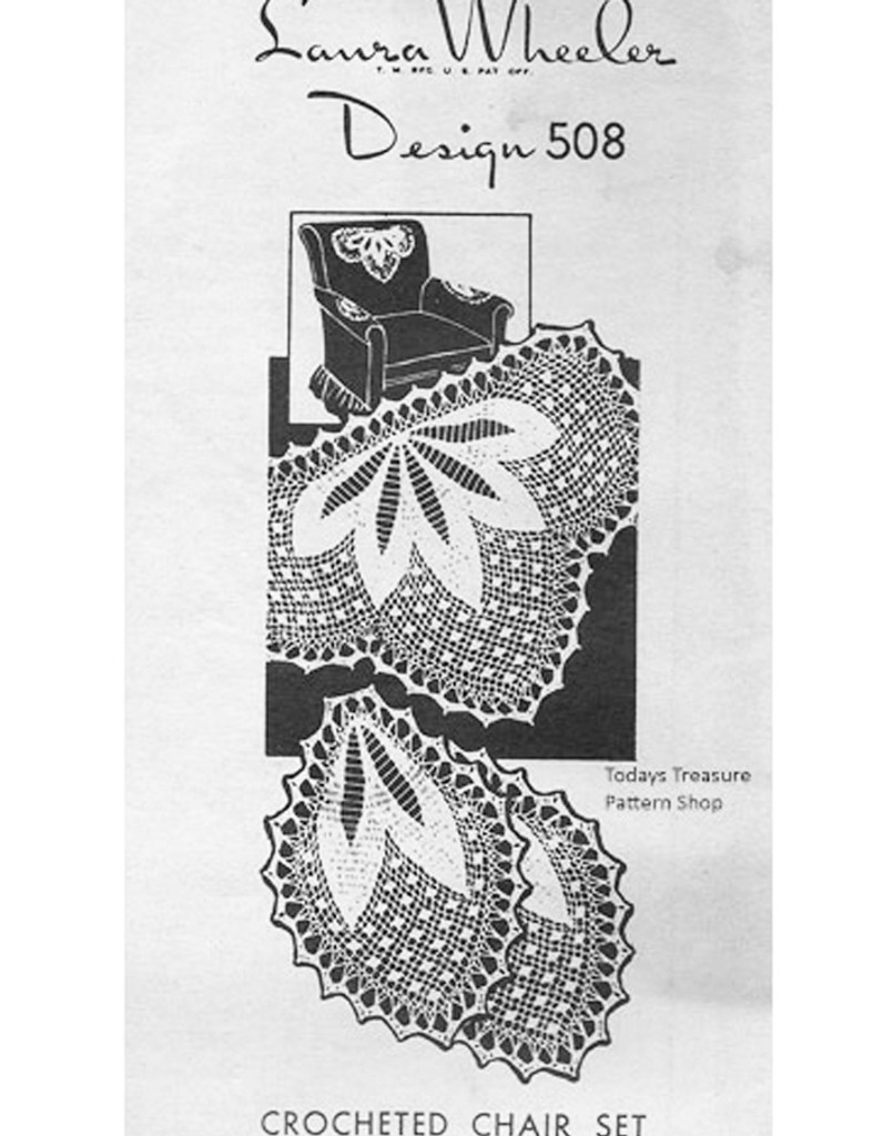 Crochet Petals Chair Doily pattern, Mail Order 508