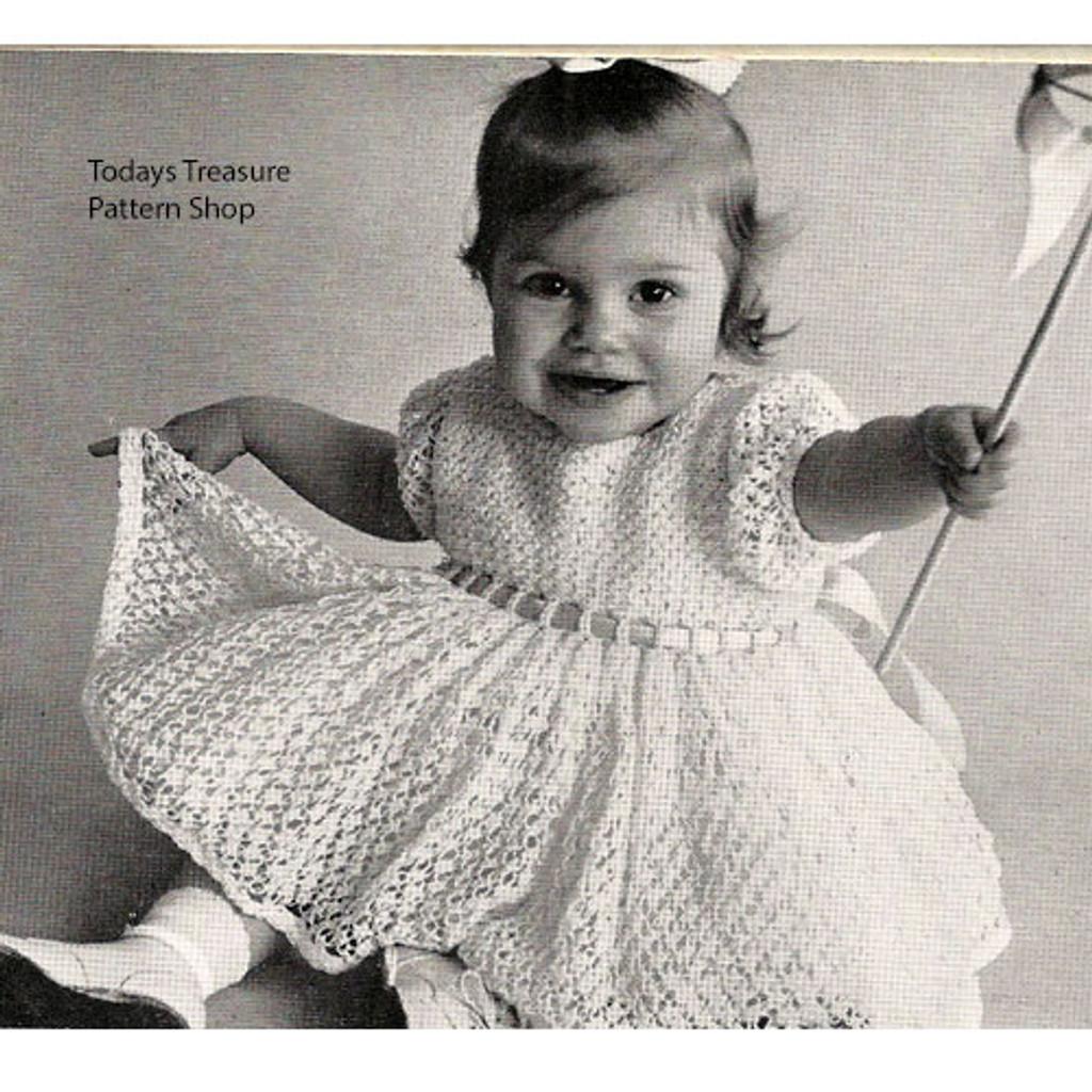Lacy crochet dress pattern for baby