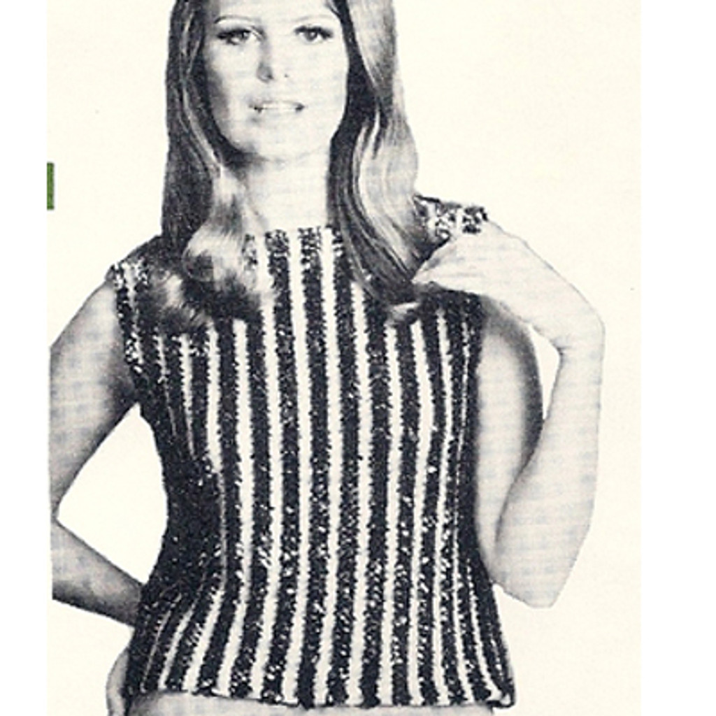 Shell Knitting pattern with Sequin Stripes