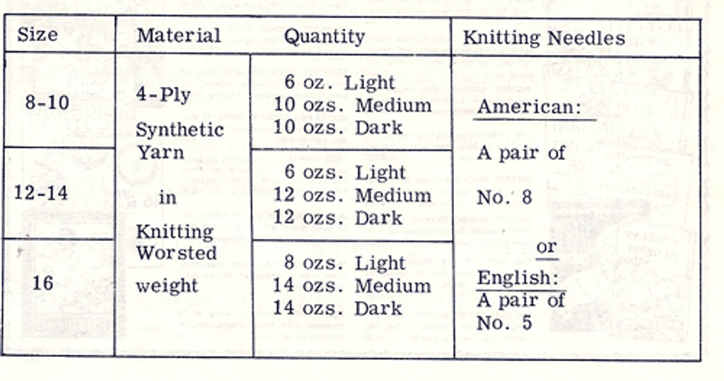 Material Requirements for Knitted Tunic