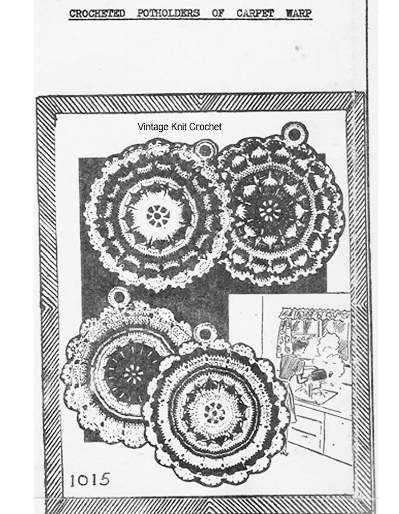 Crochet Potholders Pattern, Mail Order 1015