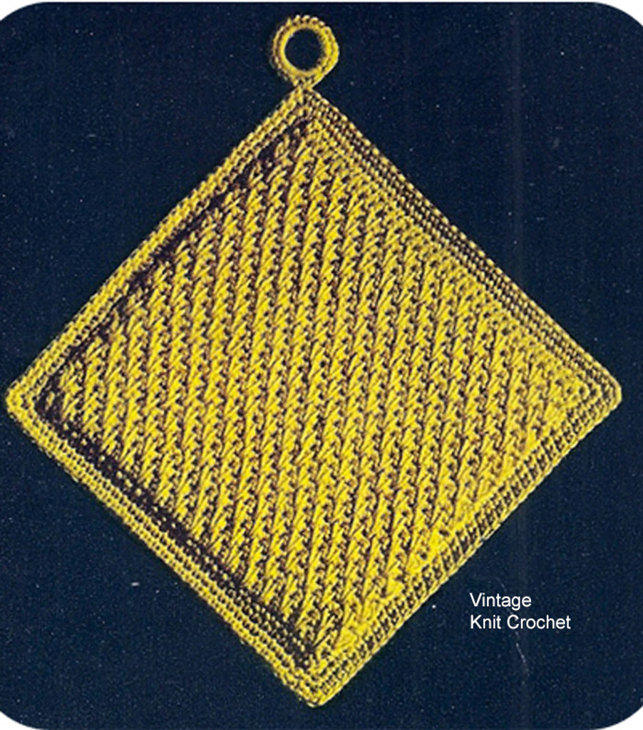 Crochet Potholder Pattern, Square with banded border