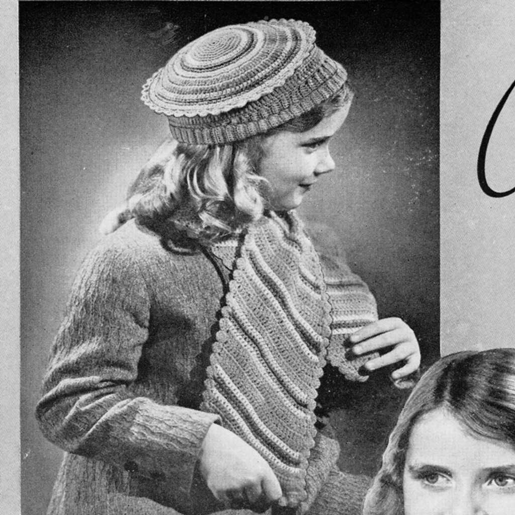 Girls Striped Crochet Scarf & Hat