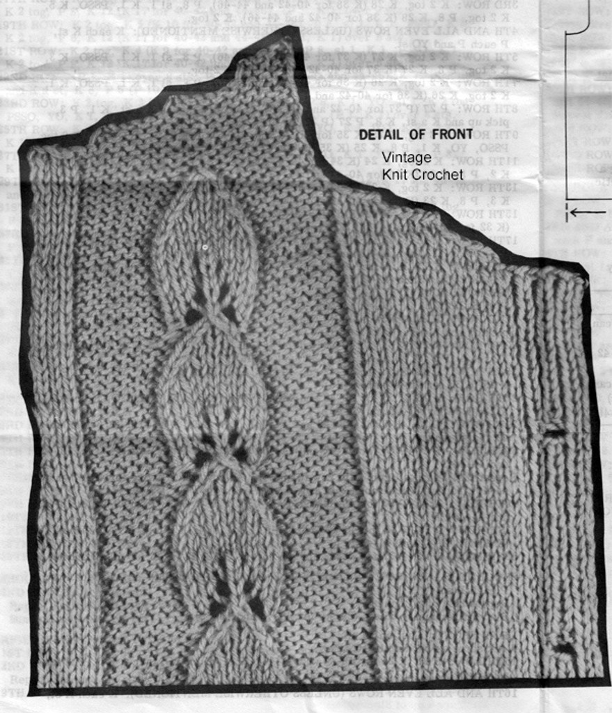 Leaf Motif Knitted Jacket Pattern Detail, Laura Wheeler 683