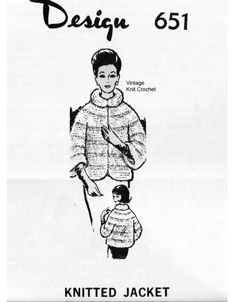 Knitted Mohair Jacket Pattern, Faux Mink, Mail Order 651