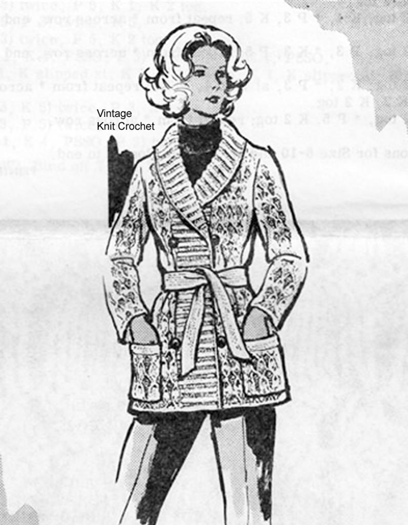 Long Jacket Knitting Pattern, Shawl Collar, Laura wheeler 574