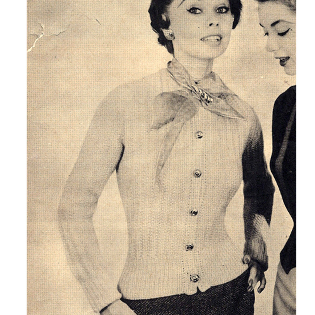 Knitted Classic Cardigan Pattern, Vintage 1950s
