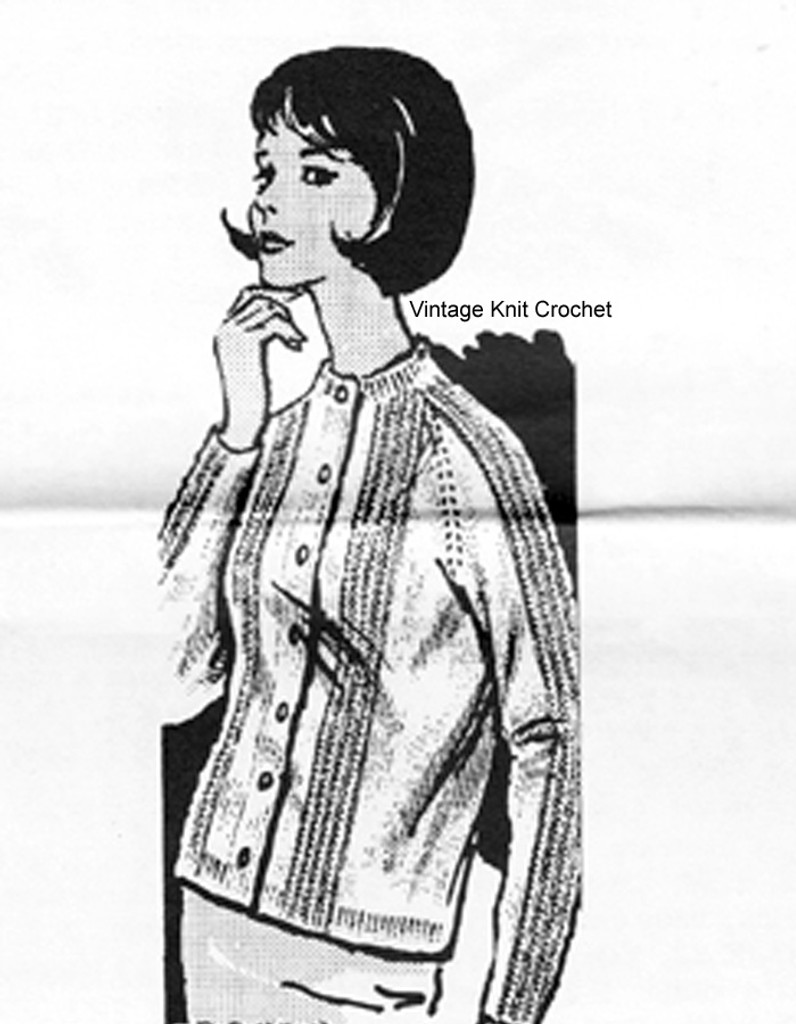 Misses Baby Cable Cardigan Knitting Pattern Mail Order Design 7243