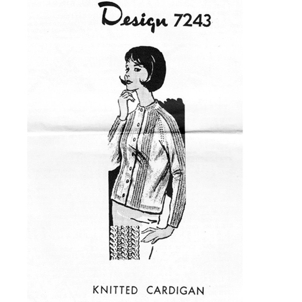 Knitted Baby Cable Cardigan Pattern, Mail Order 7243