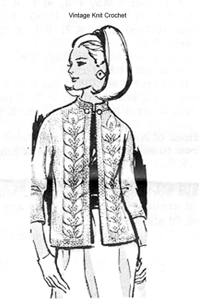 Raised Leaf Jacket Knitting Pattern, Laura Wheeler 831