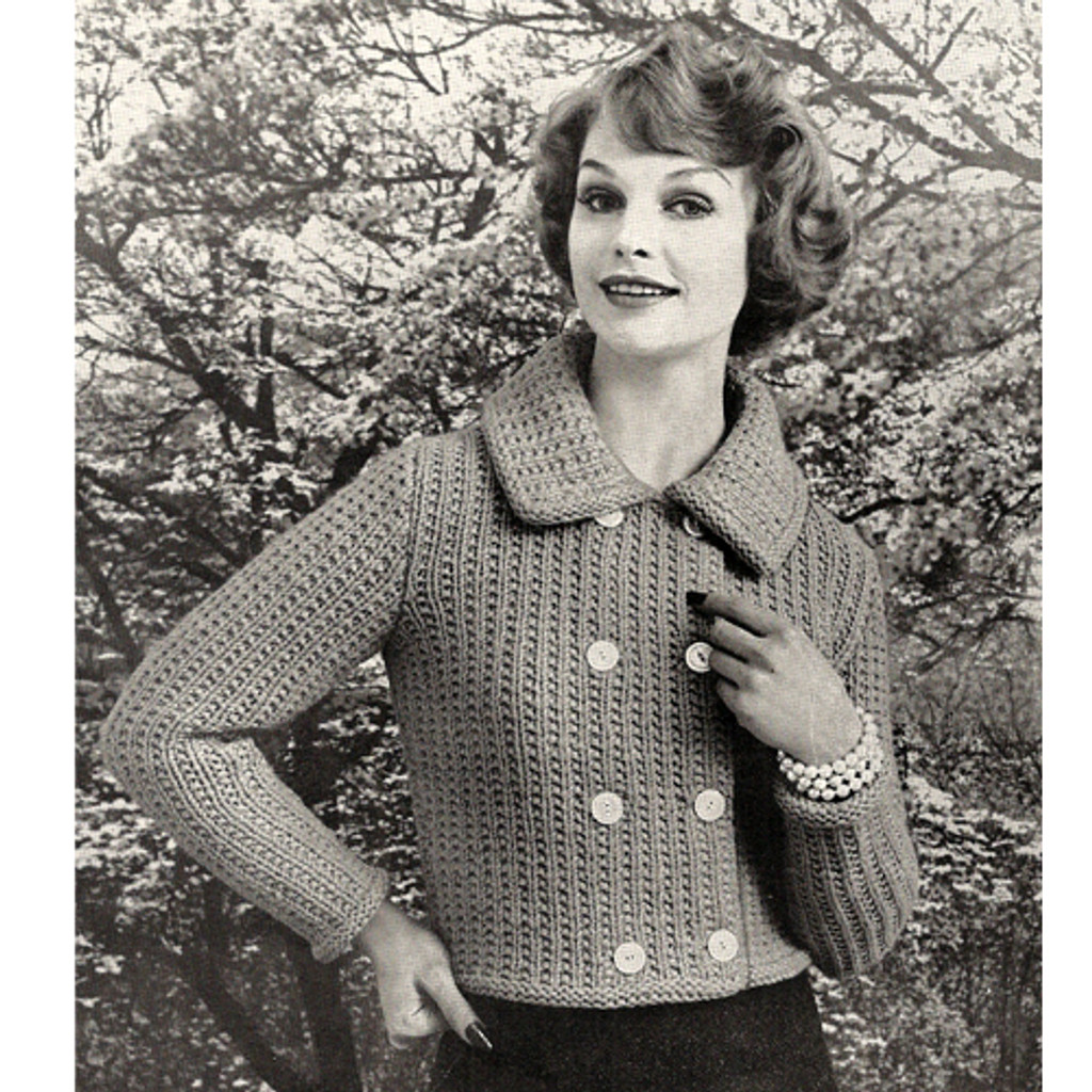 Knitting Pattern Double Breasted Jacket with Collar