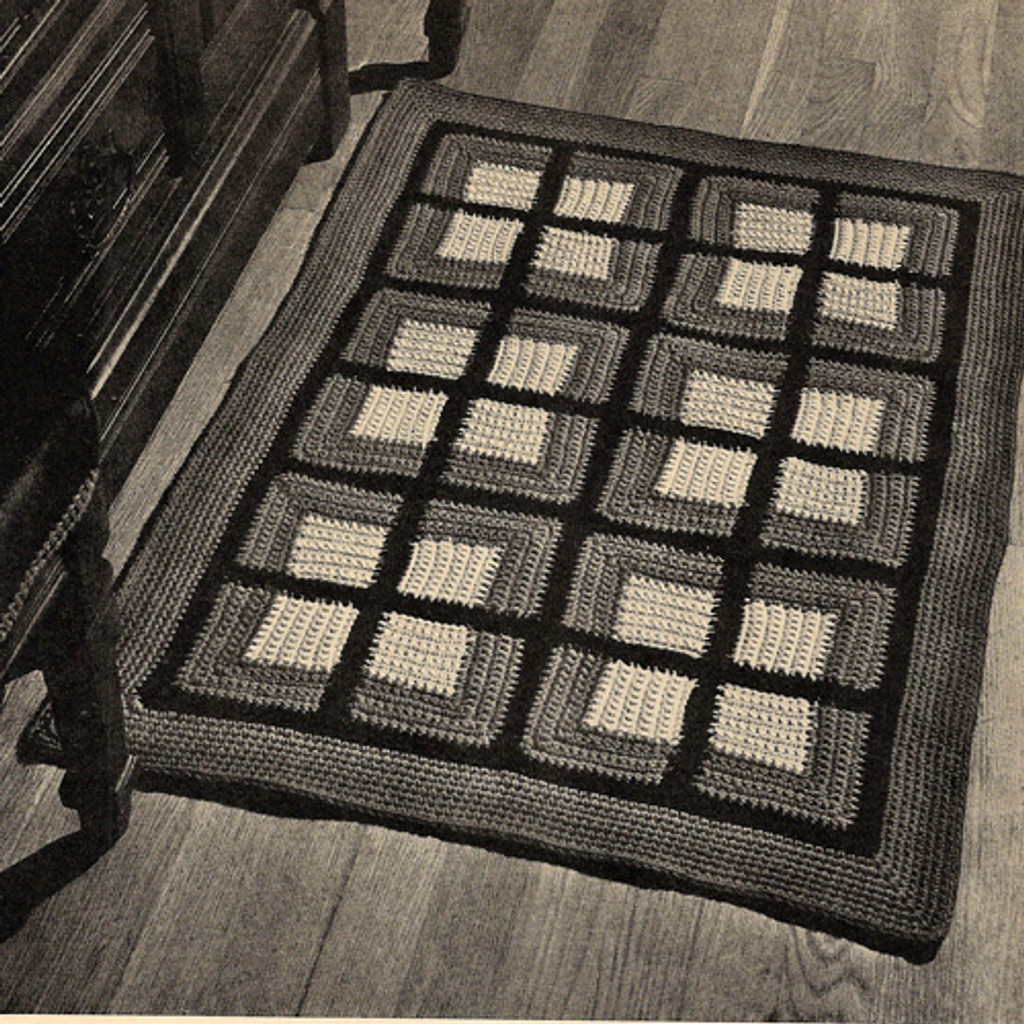 Crocheted Colonial Block Rug pattern