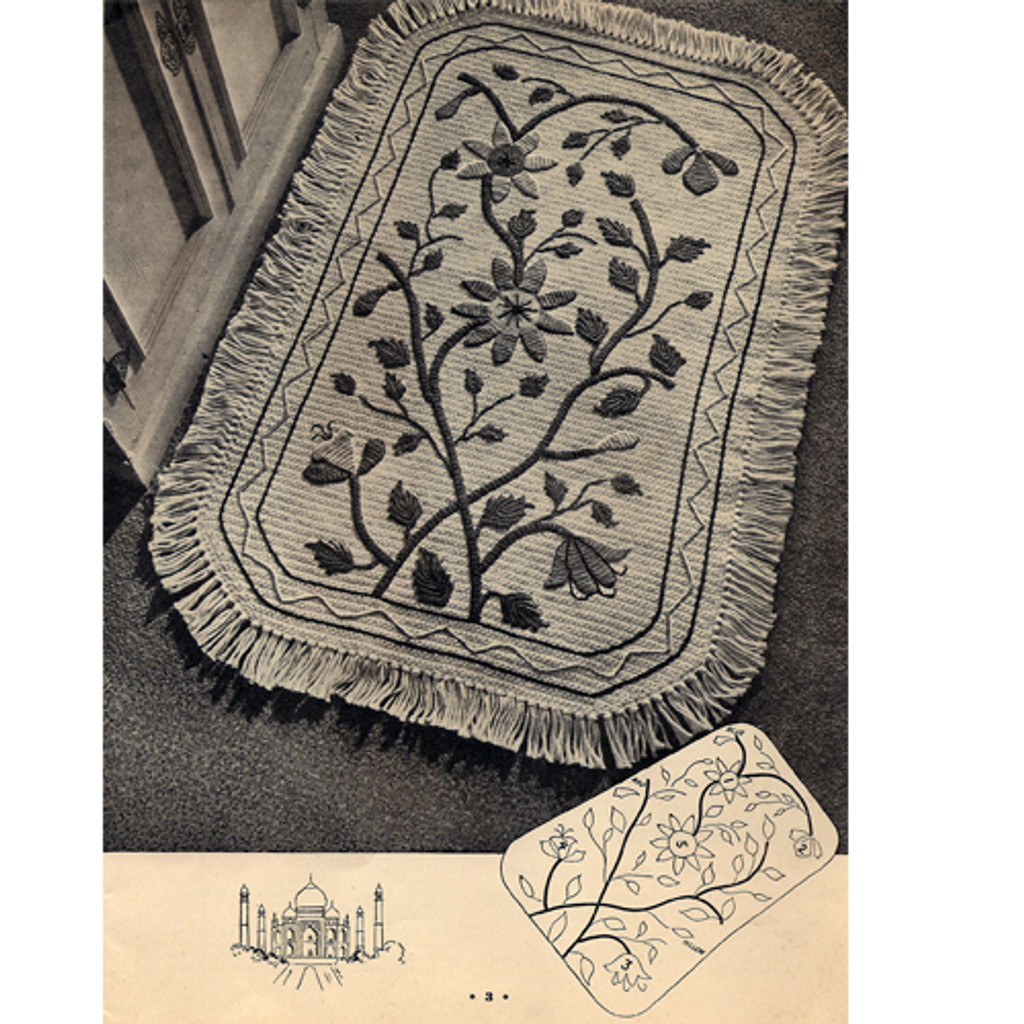 Crochet Rug Pattern with Floral Embroidery