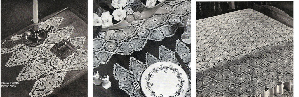 Crochet Pineapple Medallion Pattern for Tablecloth, Bedspread, Mats