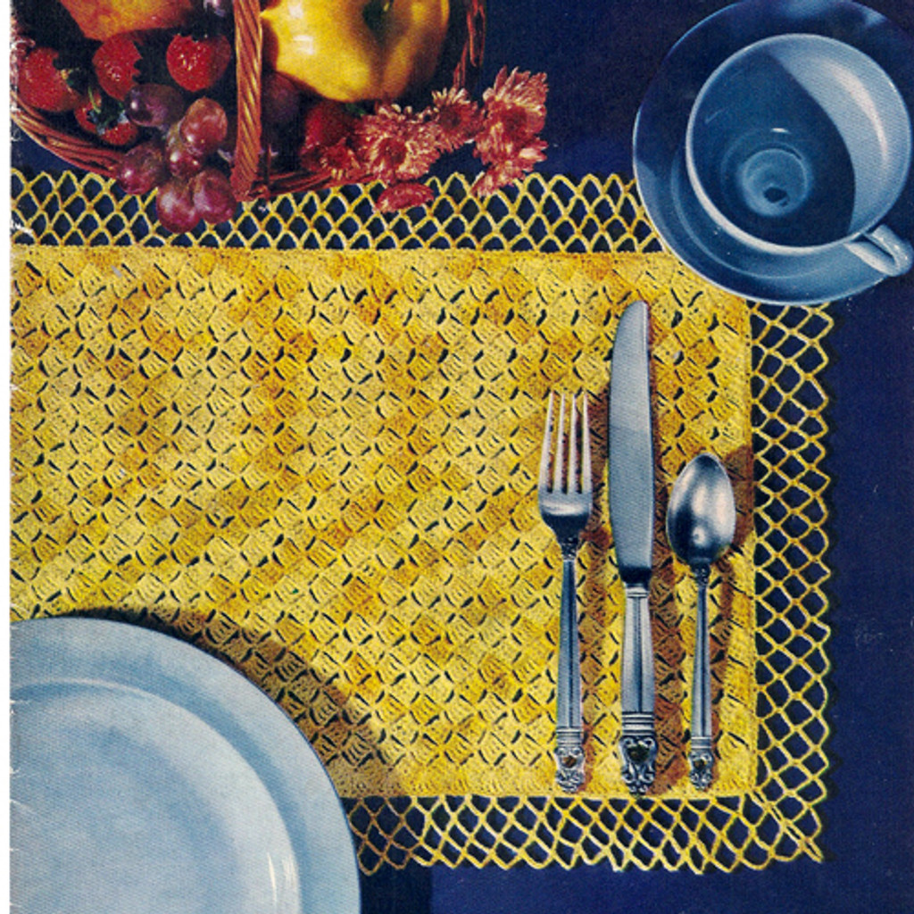 Crochet Place Mats Pattern with Lattice Edge