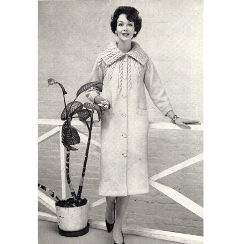 Collared Coat Knitting Pattern, Knee Length