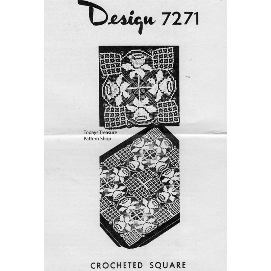 Mail Order Design 7271, Crochet Rose Square