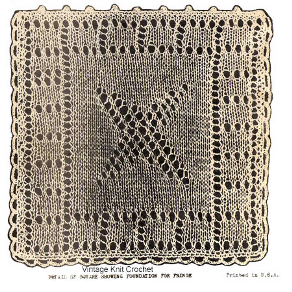 Knitted Block Pattern for bedspread or runner, Design 6411