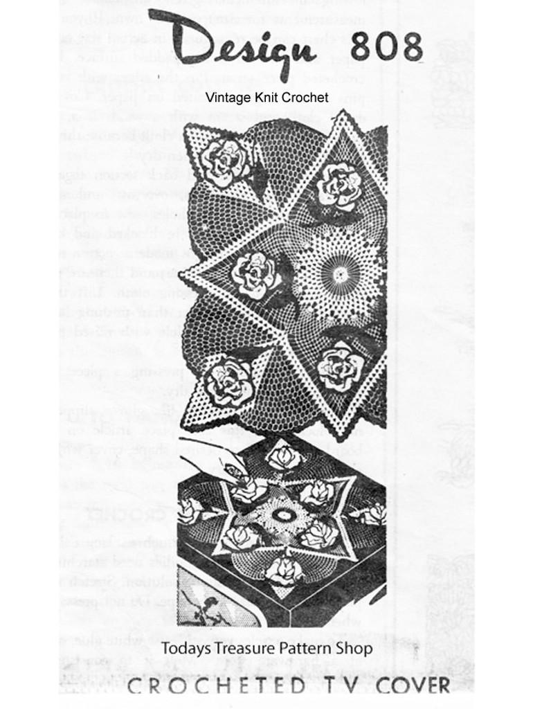 Crochet 3-d rose doily pattern, Mail Order 808