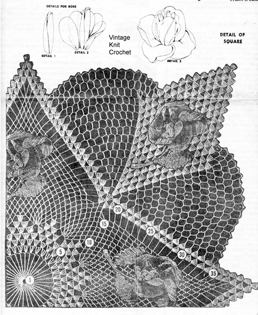 Crochet 3D Rose Doily Pattern Stitch Illustration for Design 808