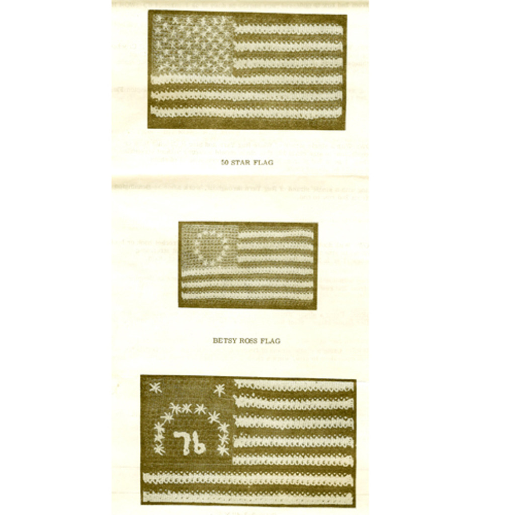 Three Crocheted American Flags