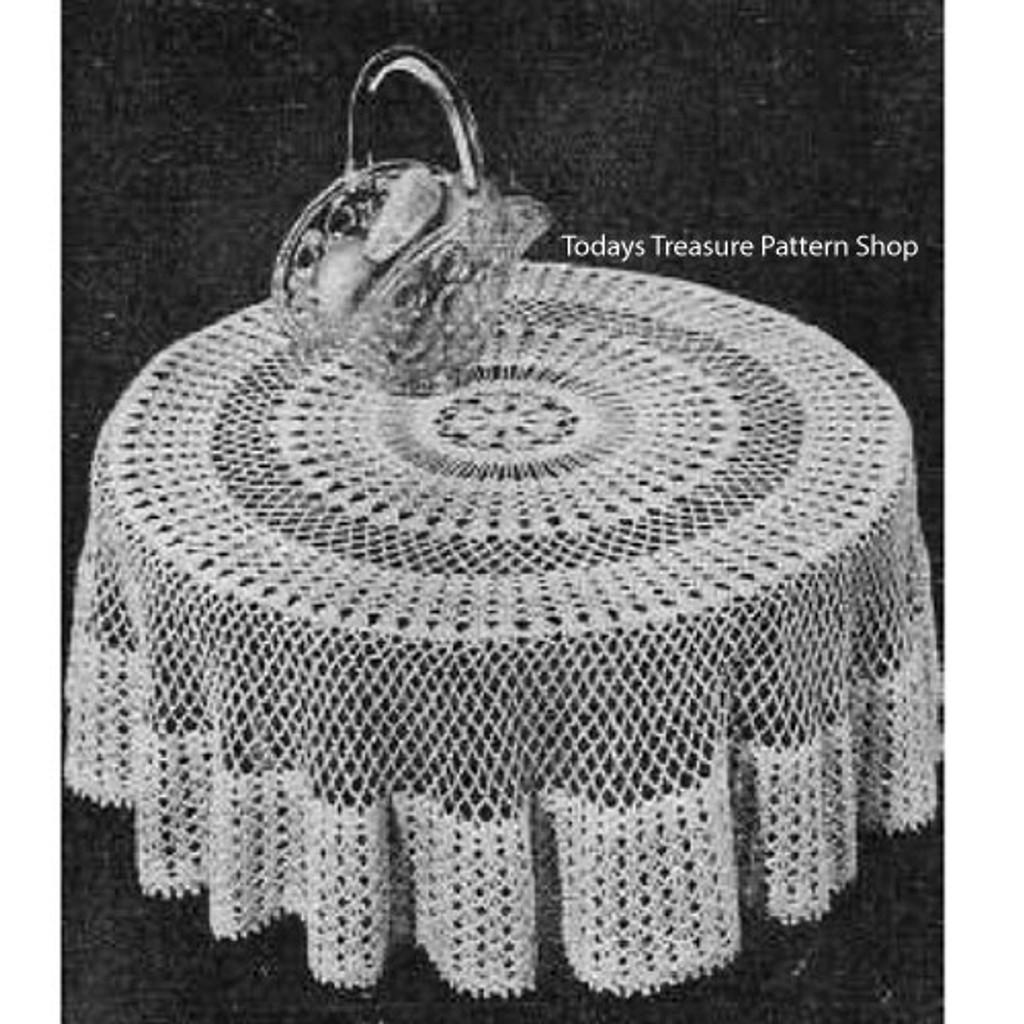 Crochet Round Tablecloth Pattern, Vintage Workbasket