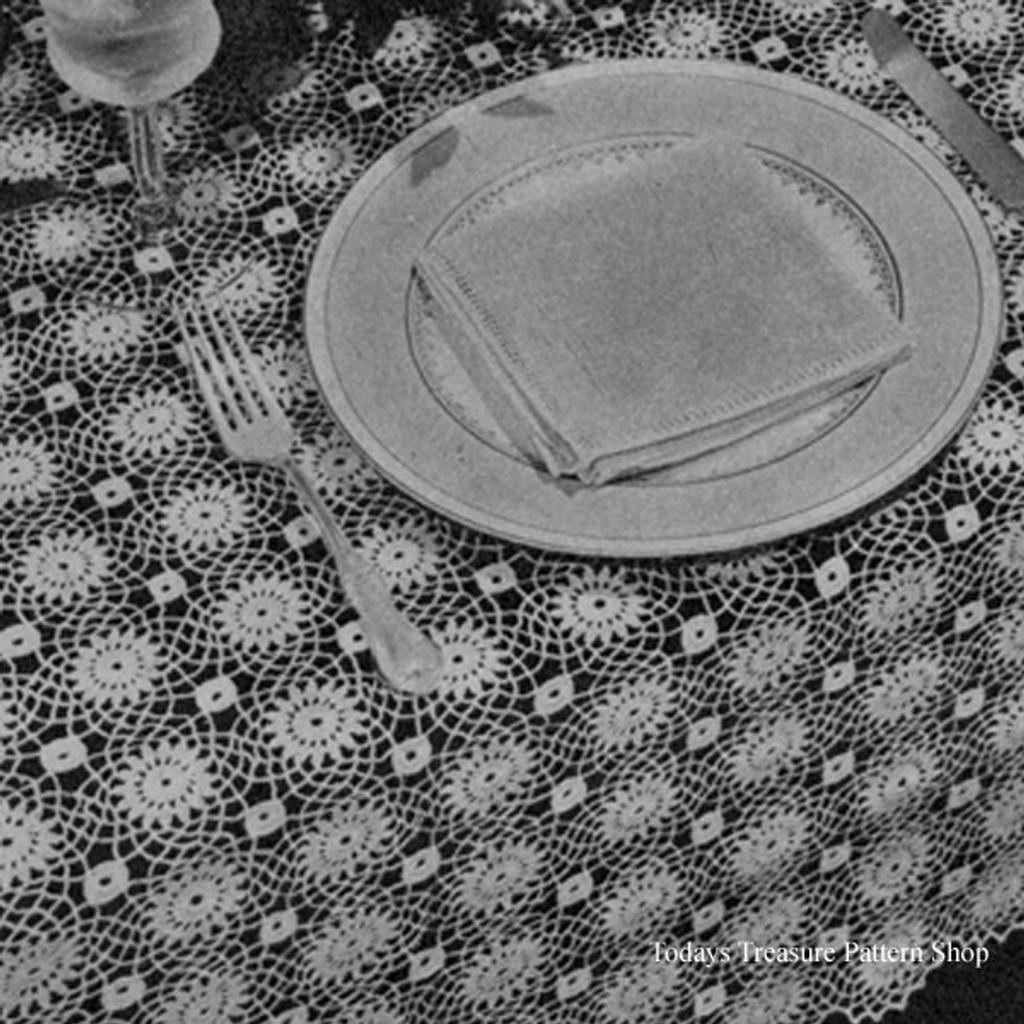 Vintage Sunburst Medallion Crochet Tablecloth Pattern