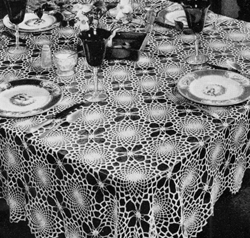 Large Round Crochet Medallion Tablecloth Pattern