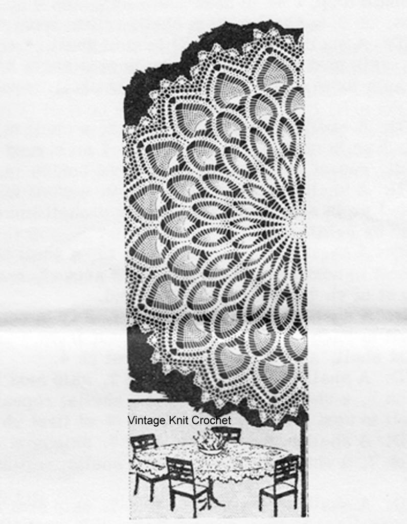 Round Crochet Pineapple Tablecloth Pattern, Laura Wheeler 957