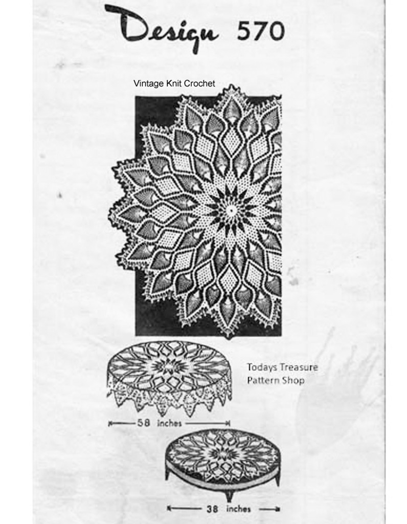 Round Pineapple Tablecloth Pattern, Design 570