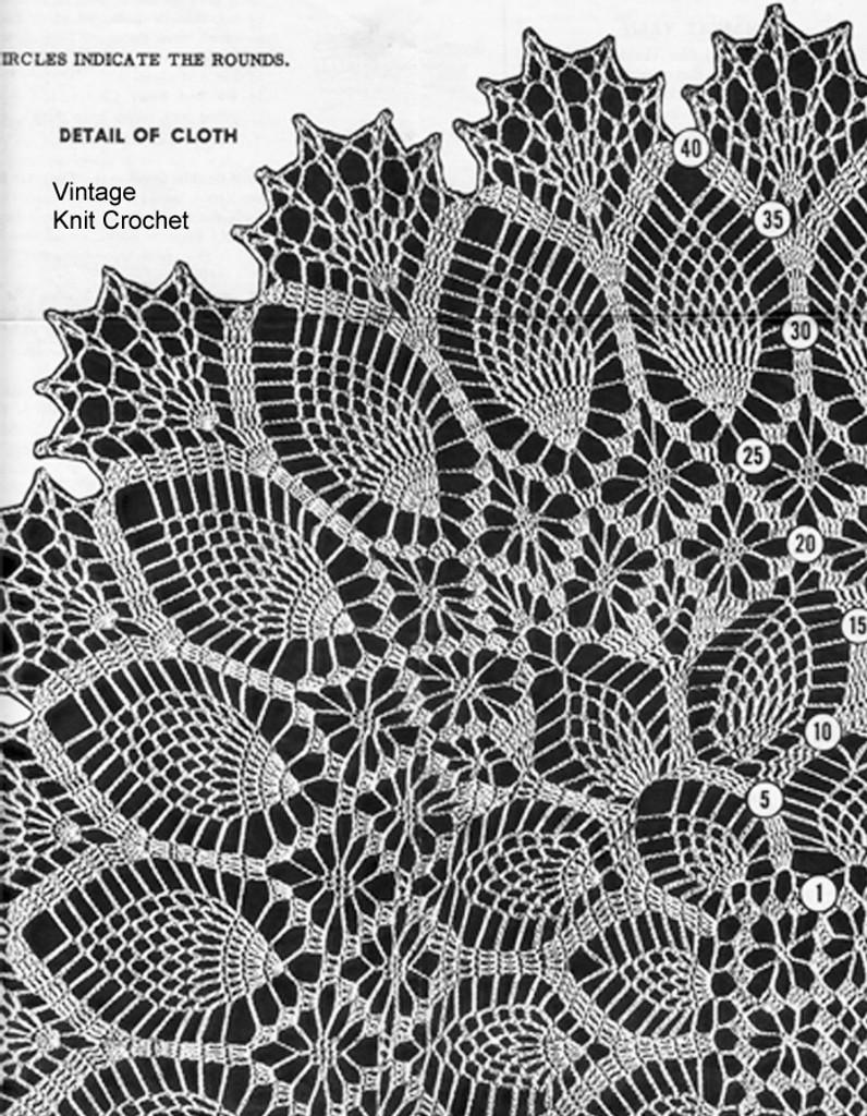 Crochet Pattern Illustration, Pineapple Tablecloth