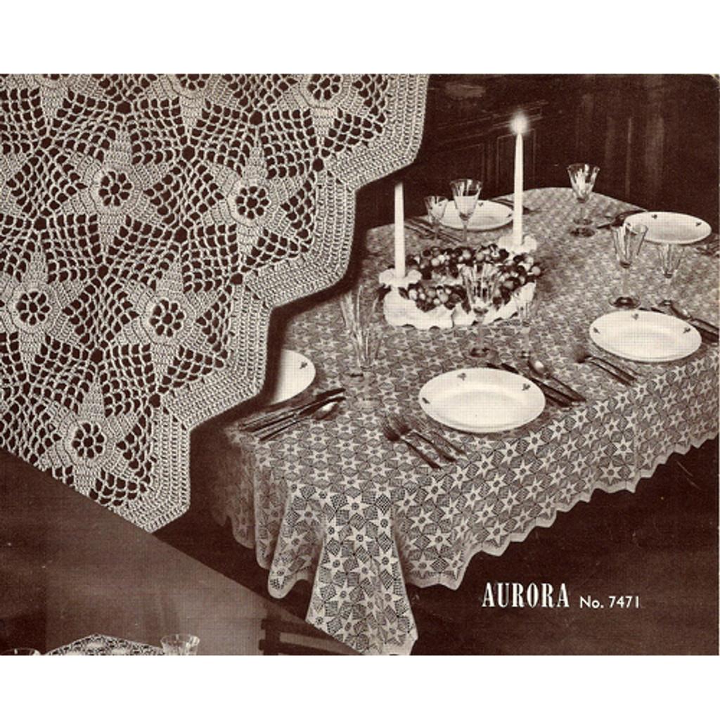 Aurora Crochet Tablecloth pattern, Vintage 1950s