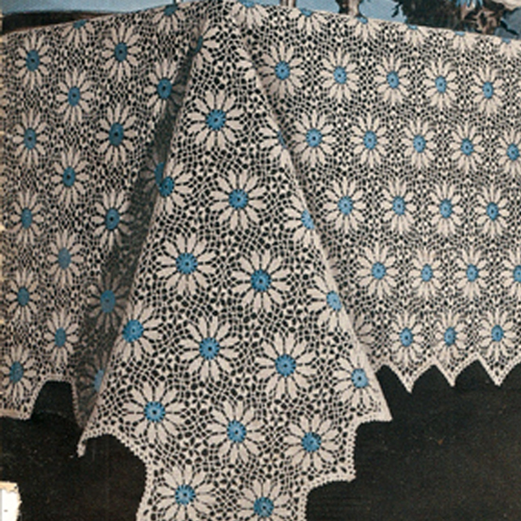 Vintage Blue Aster Crochet Medallion for tablecloth