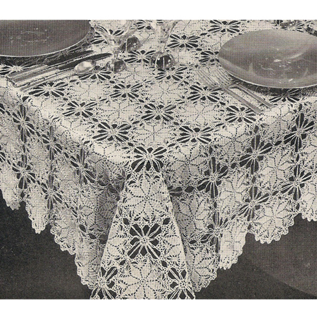 Vintage Crochet Tablecloth, Lucky Star Pattern