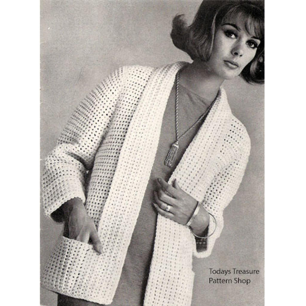 Plus Size Crocheted Cardigan Pattern, Pockets & Open Front