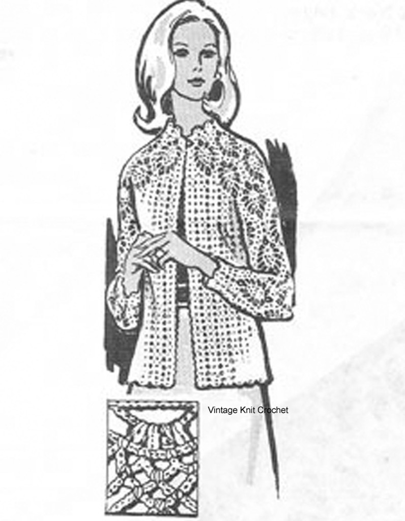 Womans Pineapple Jacket Crochet Pattern Design 538