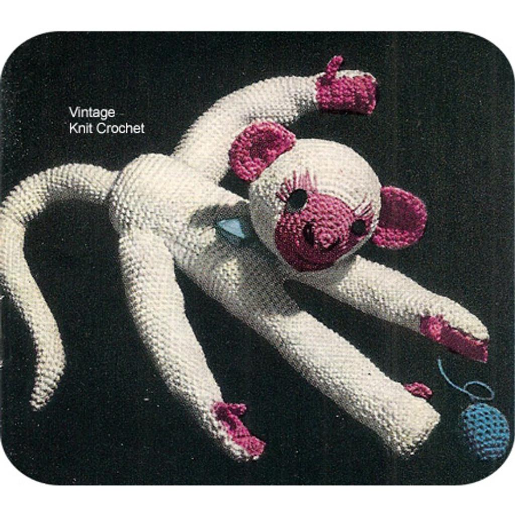 Crochet Toy Monkey Pattern, Vintage 1950s