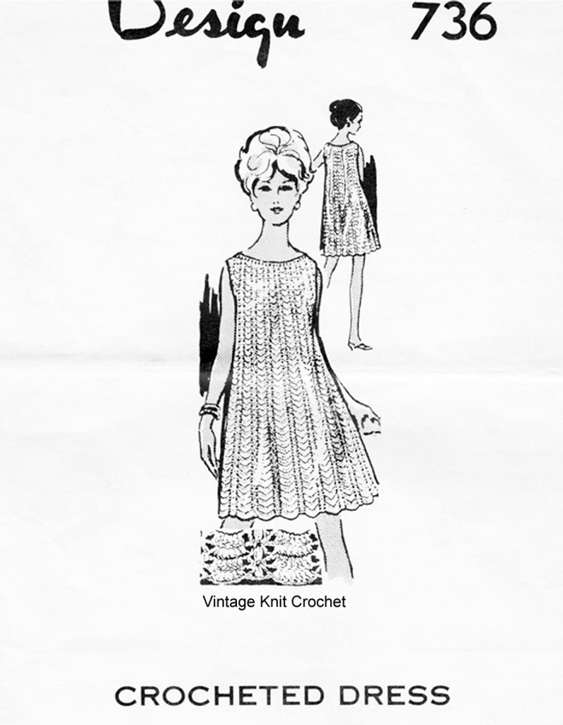 Crochet Sleeveless Dress Pattern, Mail Order 736