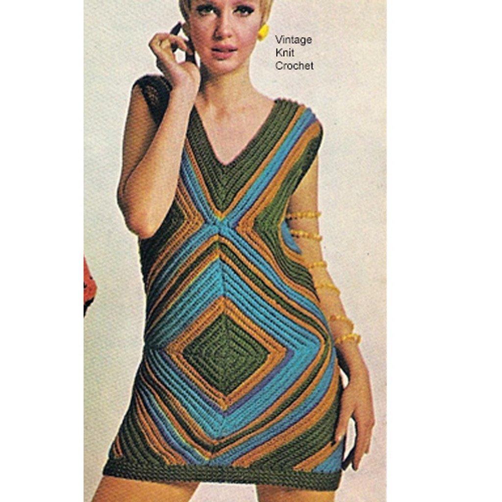 Crochet Mini Dress Tunic Pattern, Vintage 1960s