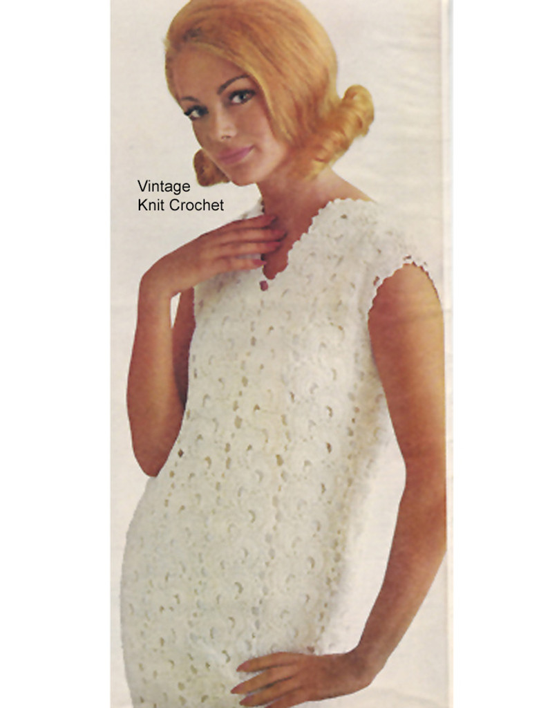 Crochet Dress Pattern, Sleeveless Shift in Lace Fan Stitch