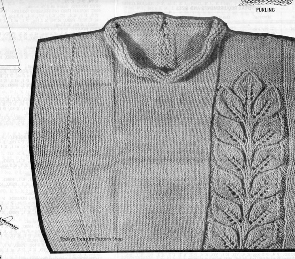 Raised Leaf Knit Illustration for Dress Pattern