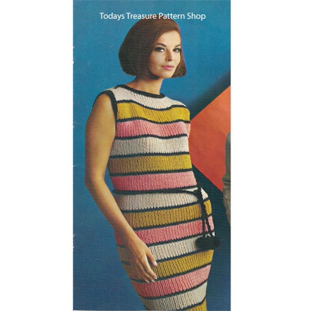 Knitting Pattern Striped Sleeveless Dress