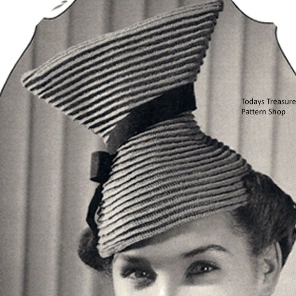 Vintage Crochet Hat Pattern in Hour Glass Shape