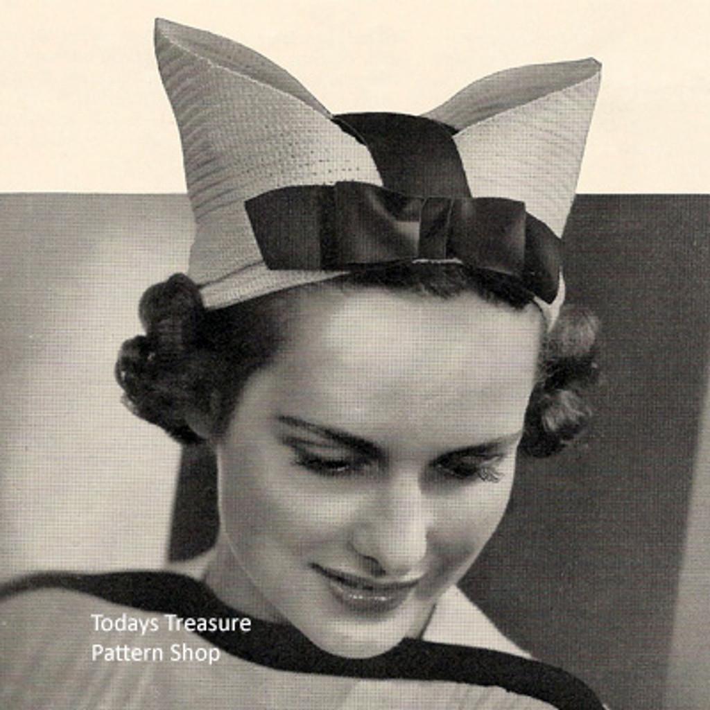 Crochet Bow Hat Pattern, Vintage 1950s