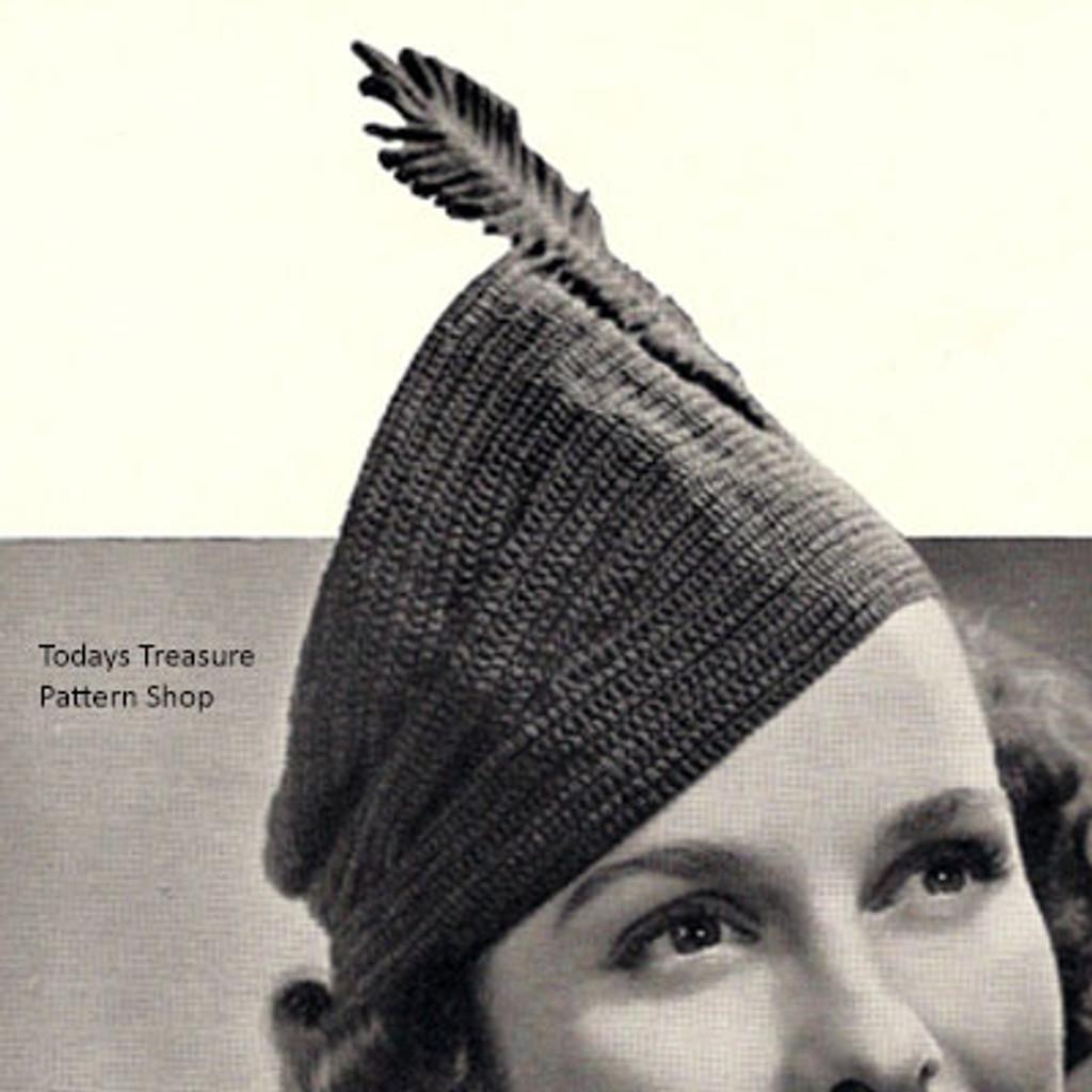 Feather Cap, Vintage Crochet Pattern