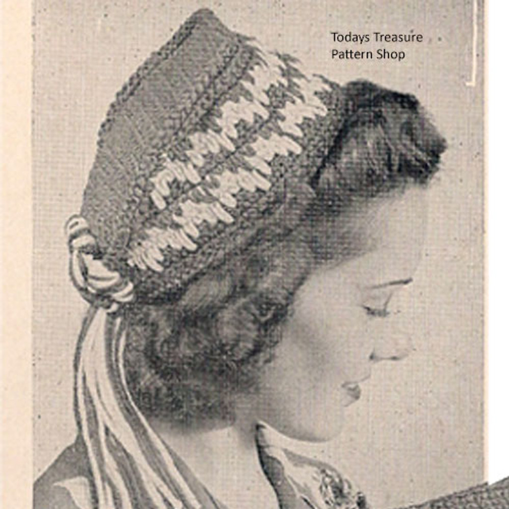 Vintage Quaker Hat Crochet Pattern with Ribbon Ties