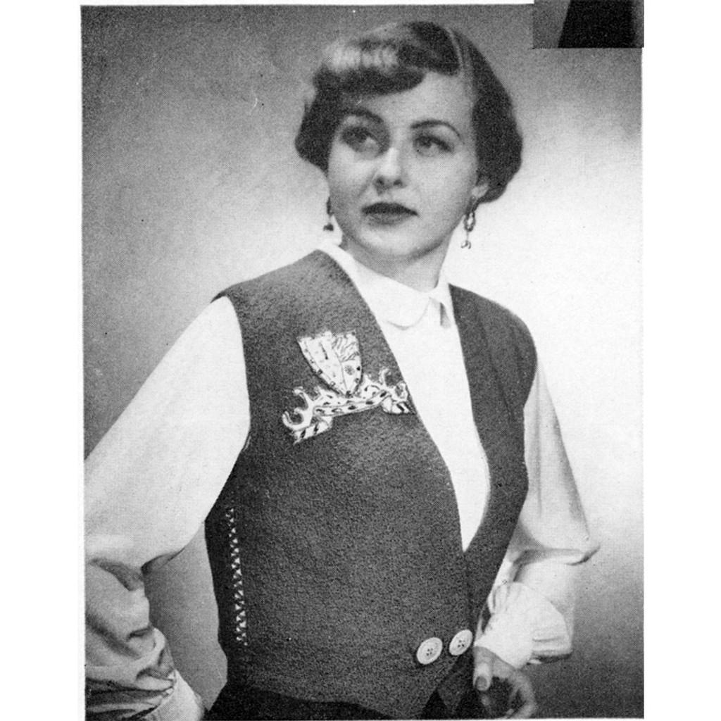 Womans Shaped Vest Knitting Pattern, Vintage 1940s