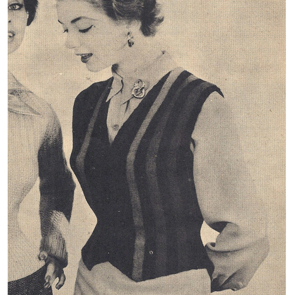 Vintage 1940's Crochet Striped Vest Pattern