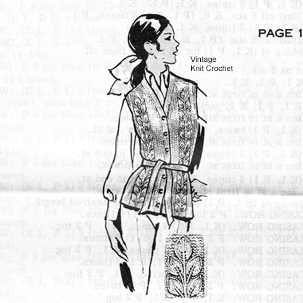 Leaf Motif Knitted Vest Pattern  Design 657